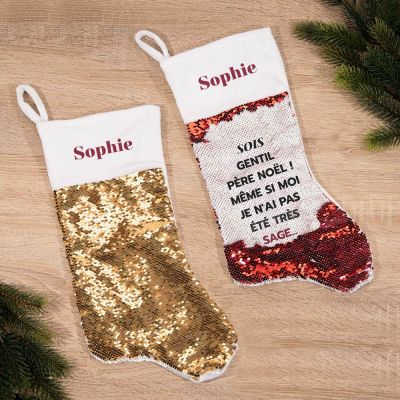 Chaussette de Noël à Paillettes avec texte