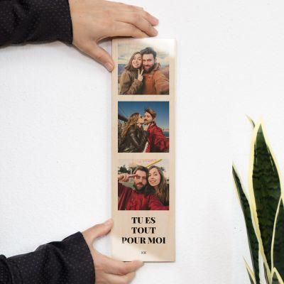 Photo sur bois verticale avec 3 photos et texte