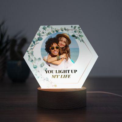 Lampe LED Hexagonale avec Photo et Texte