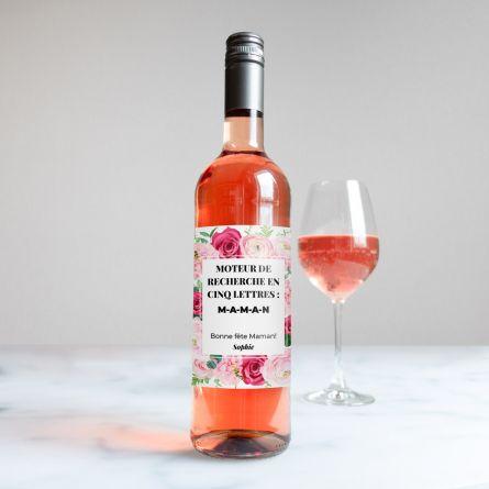 Vin Rosé Motif Roses avec Texte