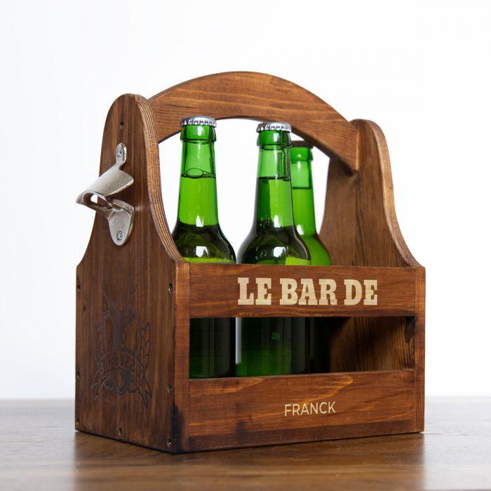 Porte-bouteilles avec texte