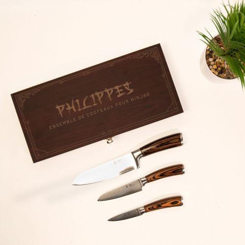 Set de couteaux Coffret en bois avec texte