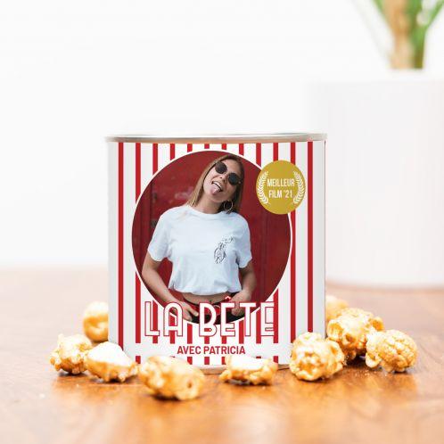 Popcorn doré avec photo et texte