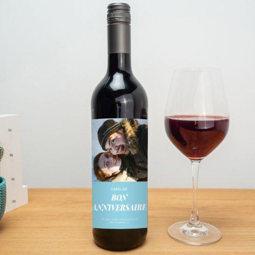 Vin rouge avec photo et texte