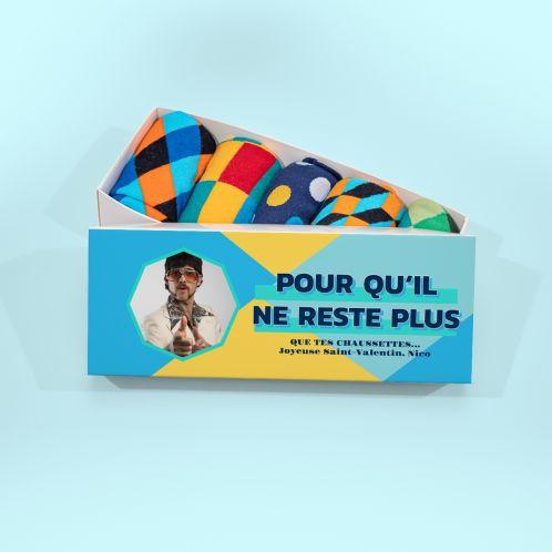 Boîte à Chaussettes avec image et texte