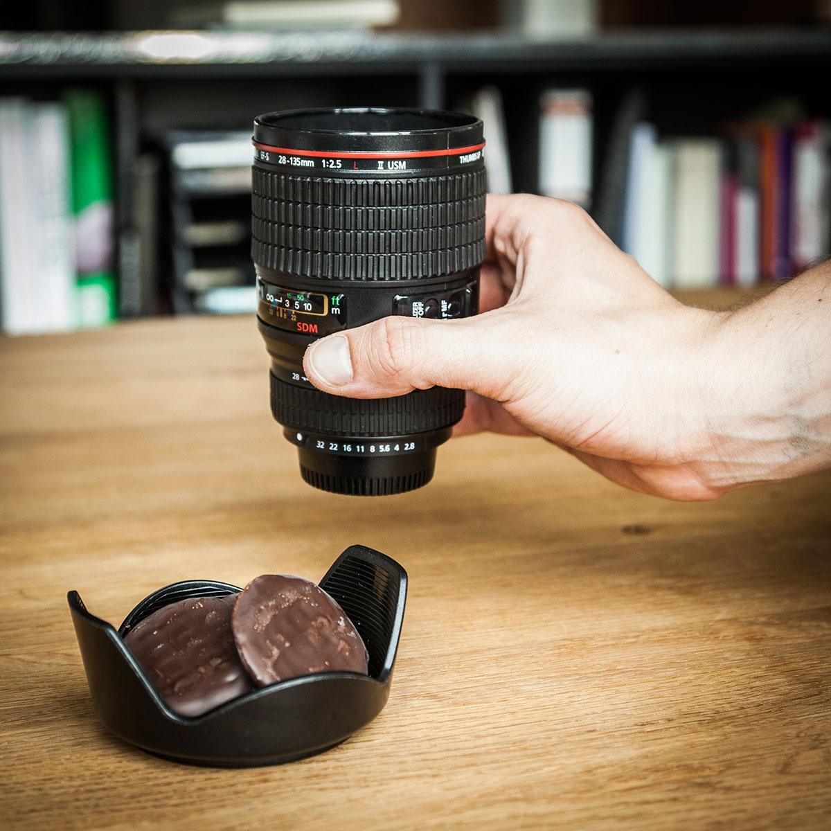 Gobelet objectif photographique