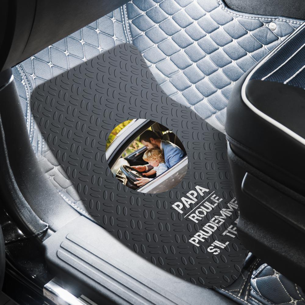 cadeau fête des Pères Tapis de voiture avec photo et texte