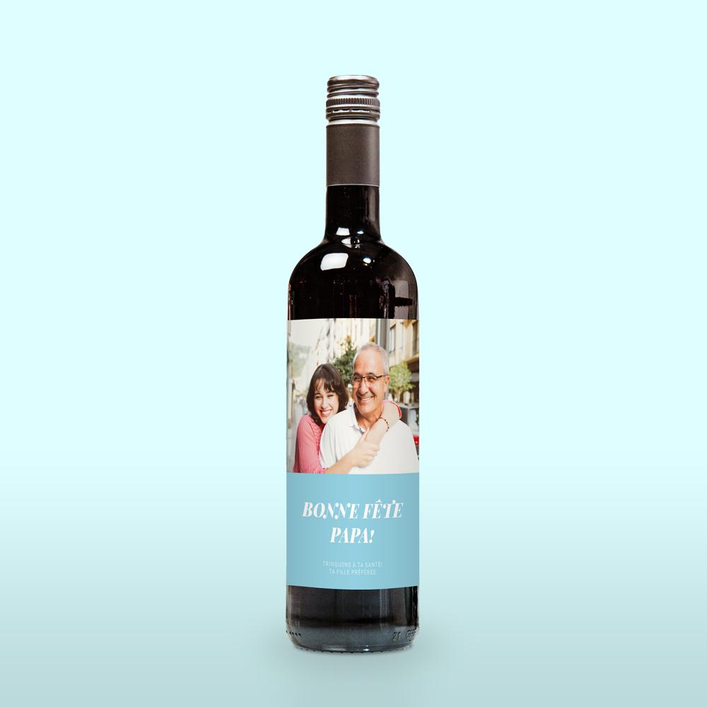 cadeau fête des Pères Vin rouge avec photo et texte