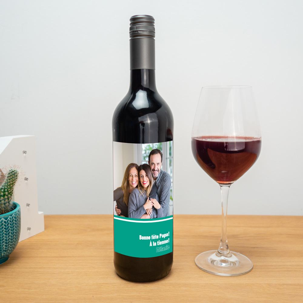 cadeau papa Vin rouge avec étiquette personnalisable
