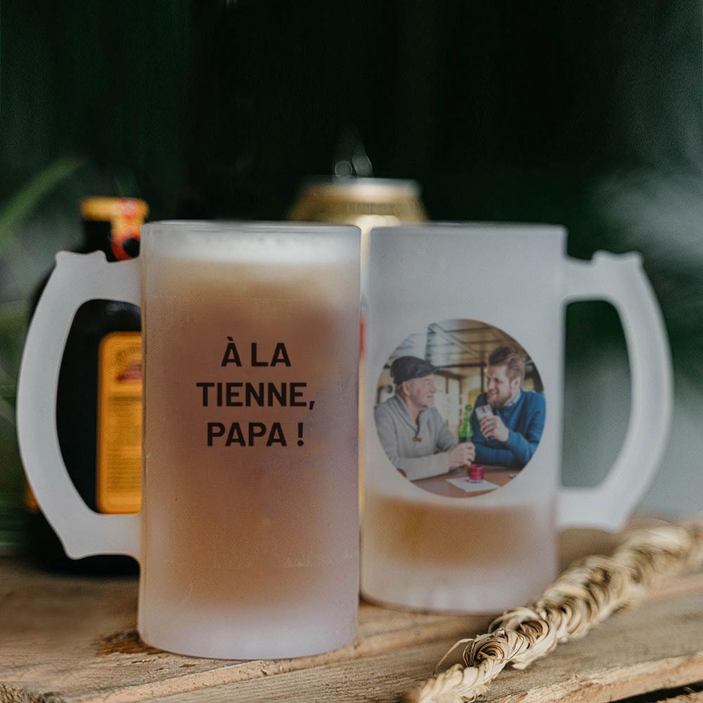 cadeau papa Chope de bière personnalisable avec photo et texte