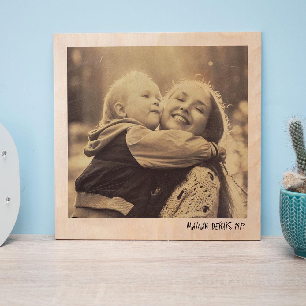 cadeau maman Photo Personnalisable sur Bois - Effet Polaroid