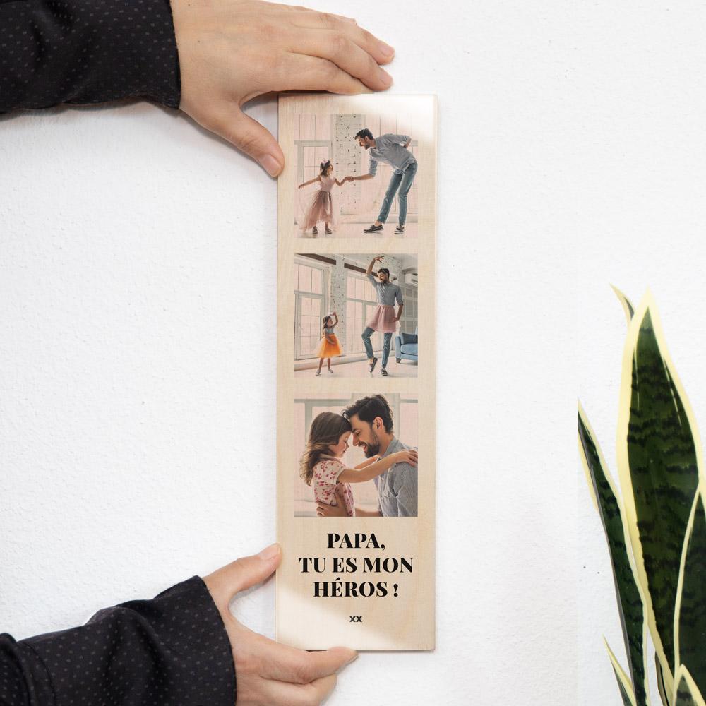 cadeau papa Photo sur bois verticale avec 3 photos et texte
