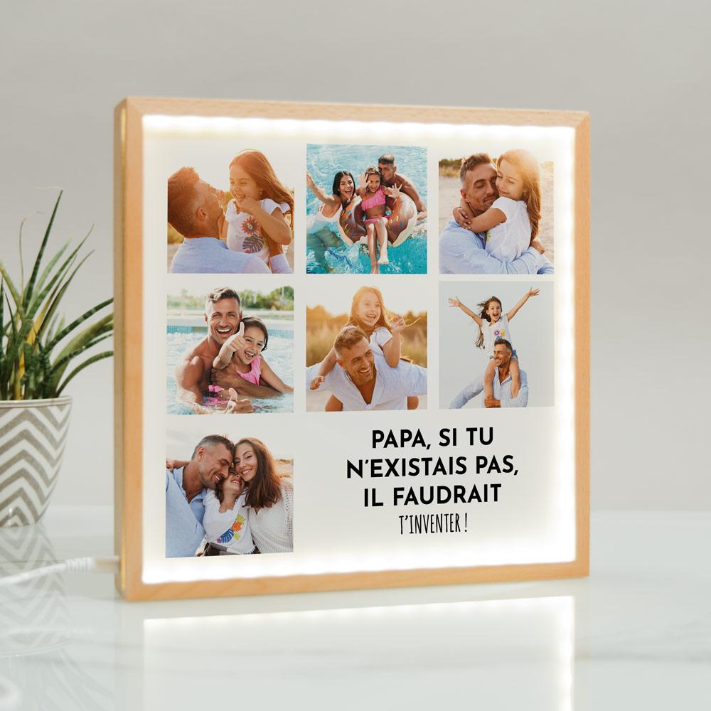 cadeau papa Light Box Cadre Lumineux avec 7 photos et texte