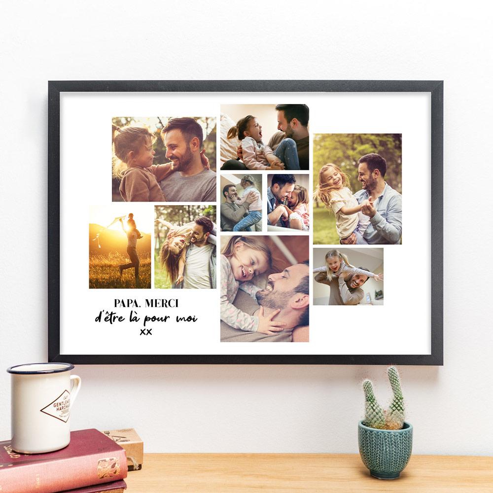 Cadeau fête des Pères Poster avec Mosaïque de photos et texte