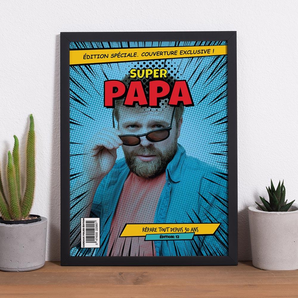 cadeau papa Poster personnalisable avec texte et image façon BD