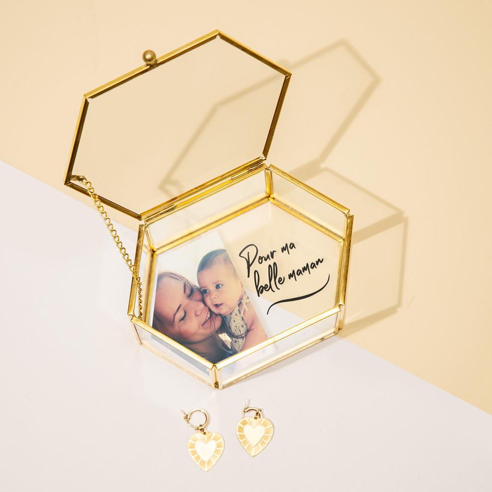cadeau maman Boîte en verre avec image et texte