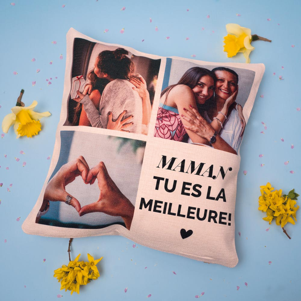 cadeau maman Housse de coussin personnalisée avec 3 images et texte