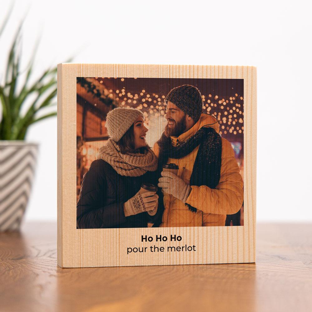 Cadeaux de Noel Photo sur bois carrée avec image et texte