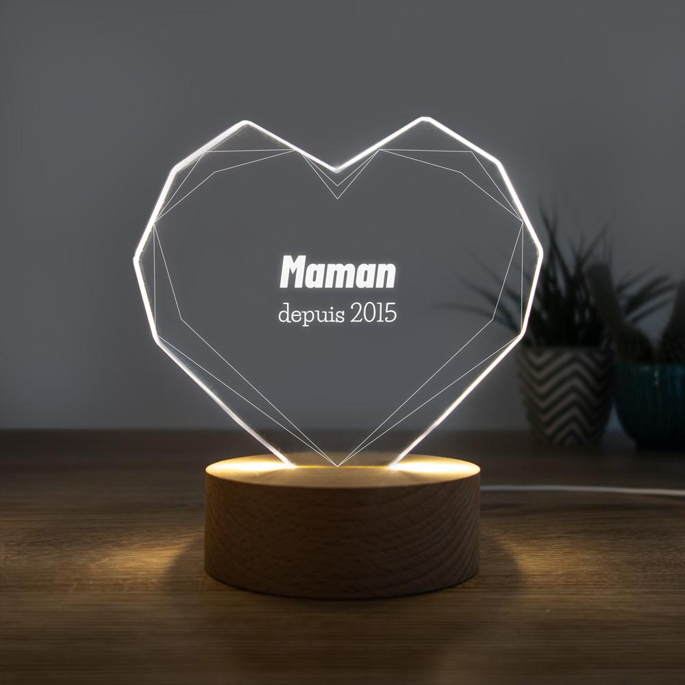 cadeau maman Lampe LED avec Cœur