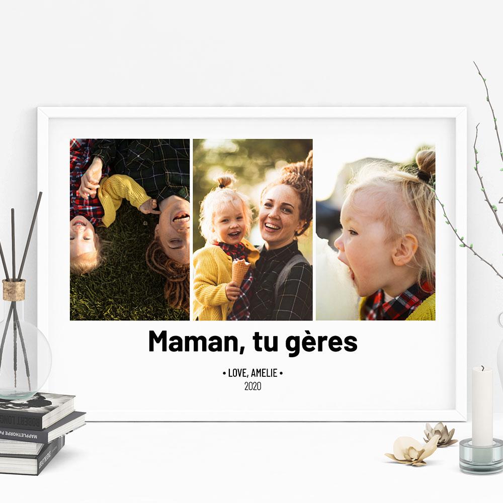 cadeau maman Poster avec 3 Photos et Texte