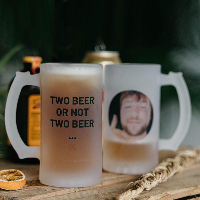 Chope de bière personnalisable avec photo et texte