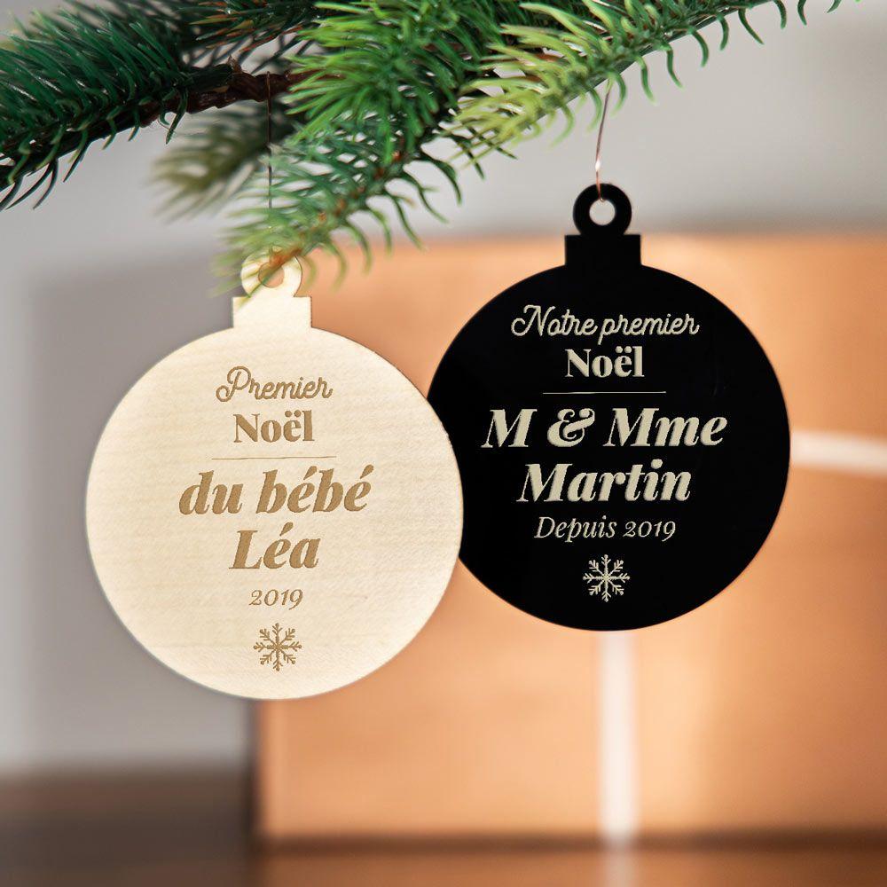 Personnalisé en bois couples Premier Noël Arbre de cœur décoration Tout Message