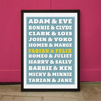 Cadeaux de Noël pour parents - Poster personnalisable Couples Célèbres