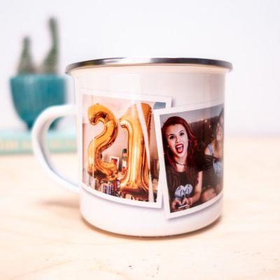 Cadeau d'adieu - Tasse en métal personnalisable avec photos