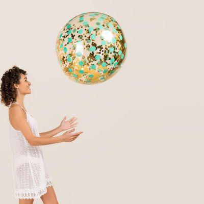 Cadeau anniversaire Femme - Ballon de Plage Géant avec Confettis