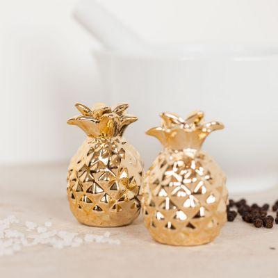 Idée cadeau femme - Salière et Poivrière Ananas en Or