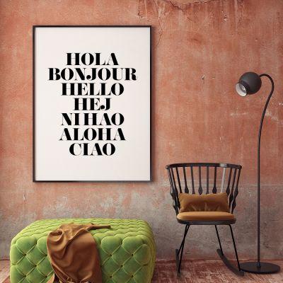 Posters exclusifs - Hola Bonjour Poster par MottosPrint