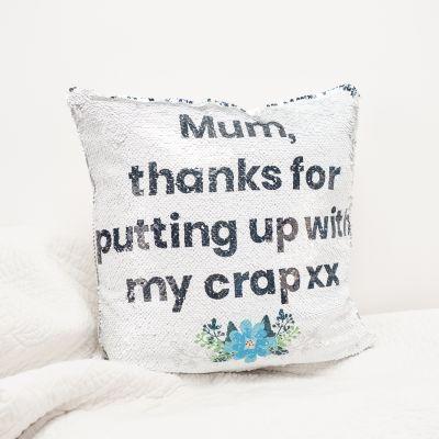 Idée cadeau femme - Housse de Coussin Glitter Personnalisable - Argent