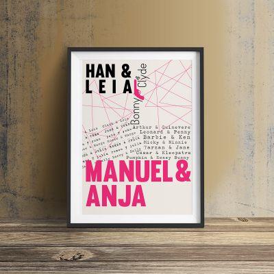 Cadeau romantique - Amants célèbres - Poster Personnalisable