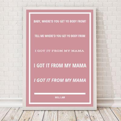 Idées cadeaux parents - Paroles de chanson - Poster personnalisable