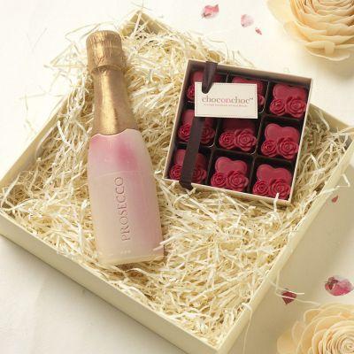 Cadeau anniversaire de mariage - Chocolats Prosecco et Coeurs
