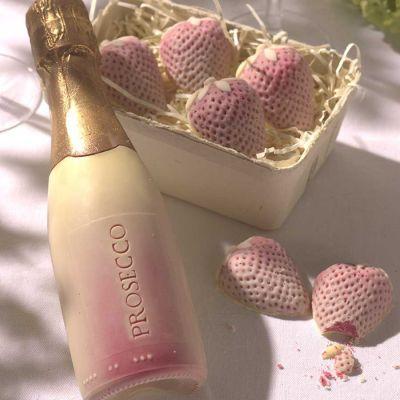 Cadeau romantique - Fraises et Prosecco en Chocolat