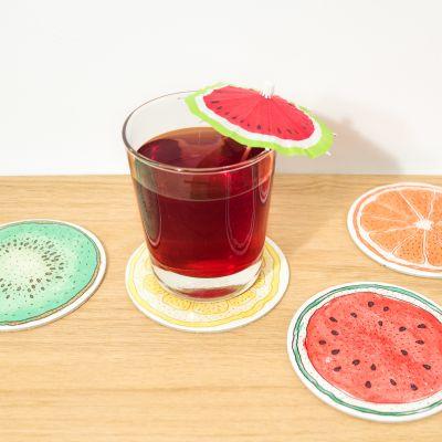 Idées cadeaux pour mettre dans le calendrier de l'avent - Sous-verres Fruits - Set de 4
