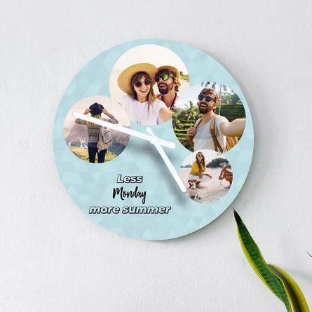 Horloge avec 4 Photos et Texte