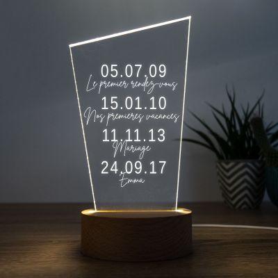 Cadeau Saint Valentin Homme - Lampe LED Dates Importantes