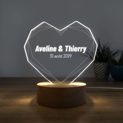 Cadeau prenom - Lampe LED avec Cœur