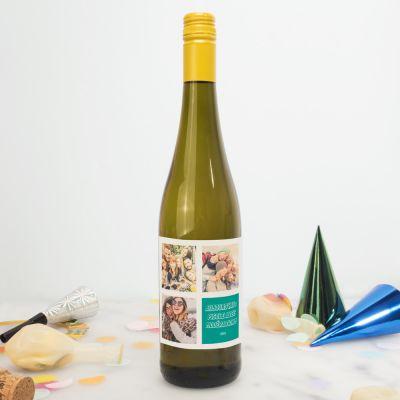 Alcool - Bouteille de vin personnalisable avec 3 images et texte