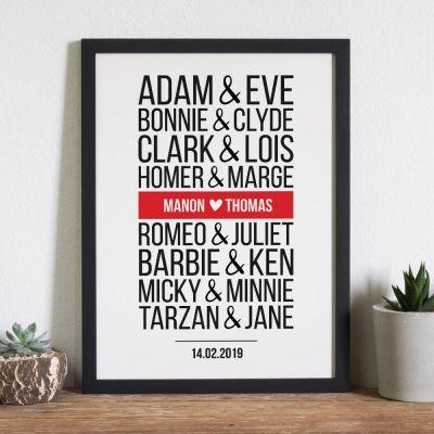 Cadeau anniversaire de mariage - Poster Personnalisable Couples Célèbres - Version Moderne