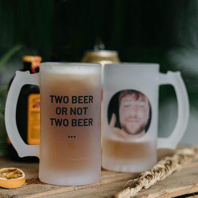 Cadeaux de Noël pour papa - Chope de bière personnalisable avec photo et texte