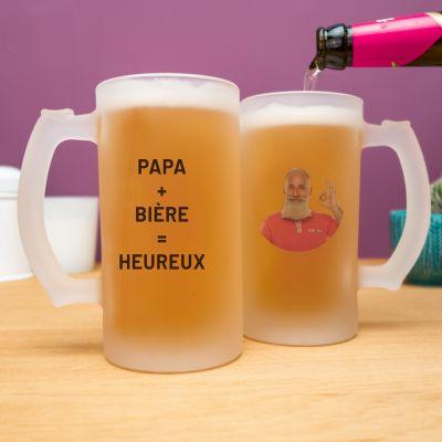 Cadeau anniversaire papa - Chope de bière personnalisable avec photo et texte