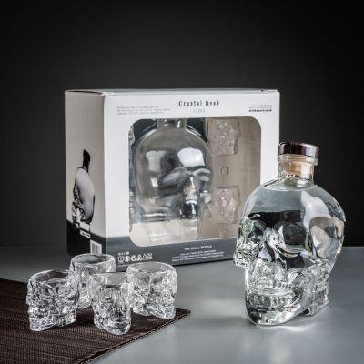 Cadeau d'Halloween - Coffret Vodka Crâne de Cristal avec ses Verres à shot