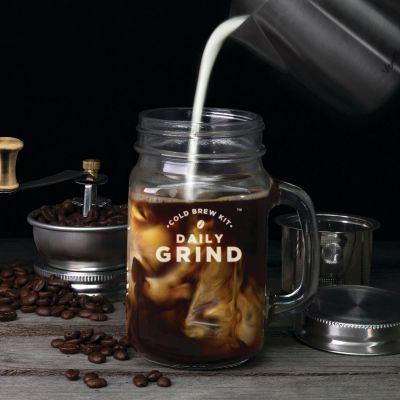 Cuisine & Barbecue - Kit Slow Coffee avec moulin à café intégré et Mason Jar