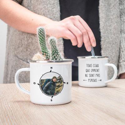 Tasses et Verres personnalisés - Tasse en métal boussole personnalisable avec photo