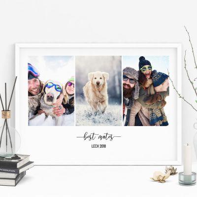 Cadeau Saint Valentin Homme - Poster avec 3 Photos et Texte