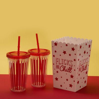 Verres & Mugs - Kit Comme au cinéma – Boîte à Pop-corn & Gobelets