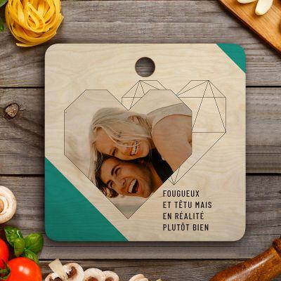Cadeau d'adieu - Planche à découper Personnalisable avec photo, texte et coeur